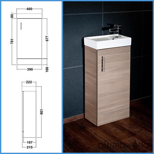 Compact bathroom vanity unit basin sink vanity 400mm floor standing tap waste ebay - Light oak bathroom vanity units ...