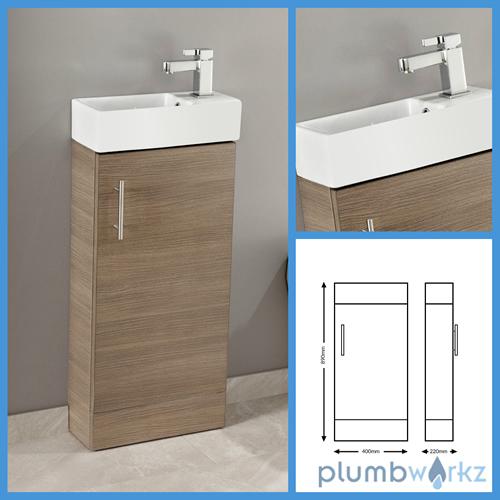Oak Floor Standing Bathroom Cabinets : Mm bathroom vanity unit basin ceramic sink cloakroom