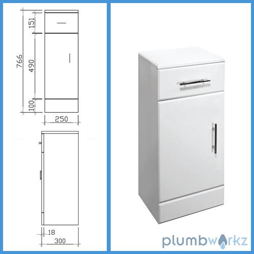 Bathroom furniture 650mm vanity unit cabinet toilet basin for Bathroom cabinets 250mm