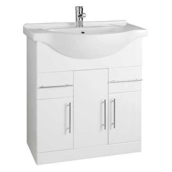 Impakt 750mm Gloss White Vanity Unit And Basin Plumbworkz
