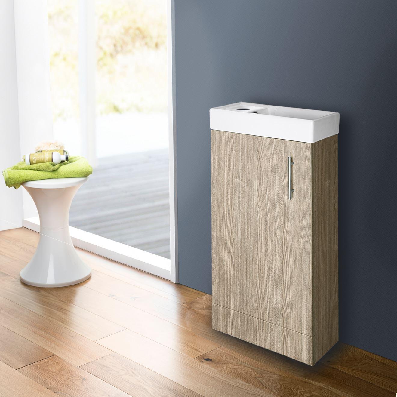 Light Oak Floor Standing Basin & Cabinet NO TAP