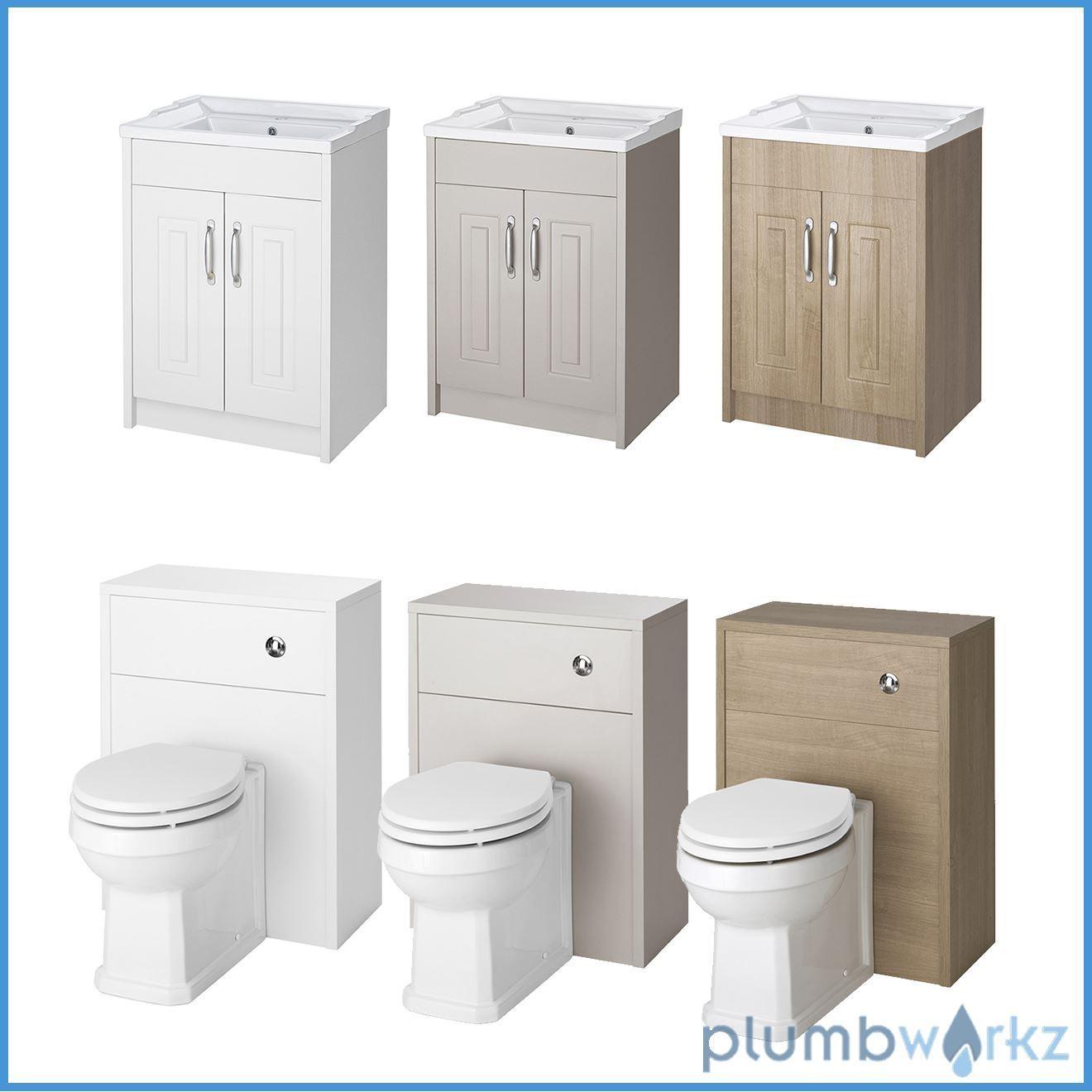 White, Stone Grey & Oak Bathroom Furniture With Toilet