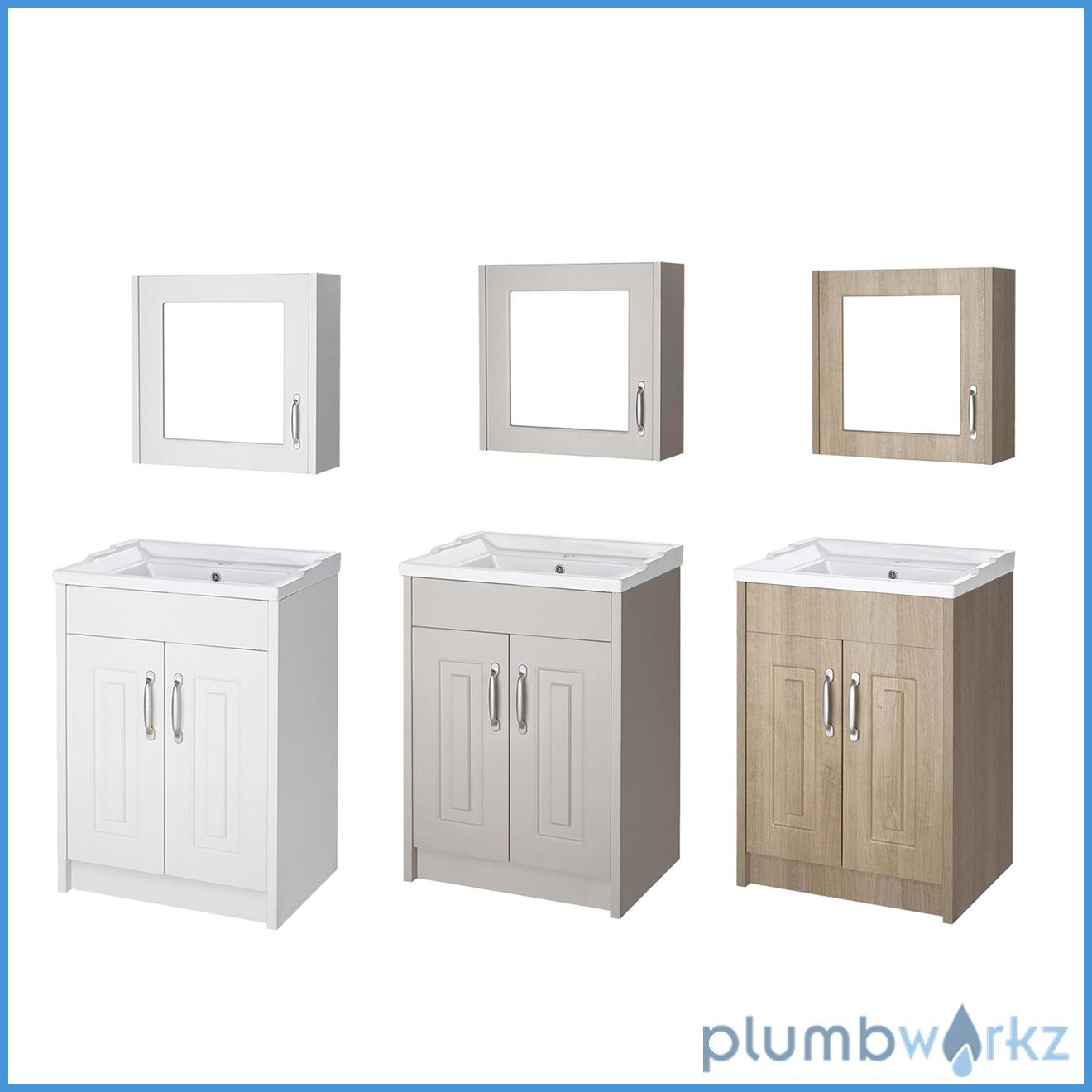 600mm White, Stone Grey & Oak Vanity Unit With Mirror