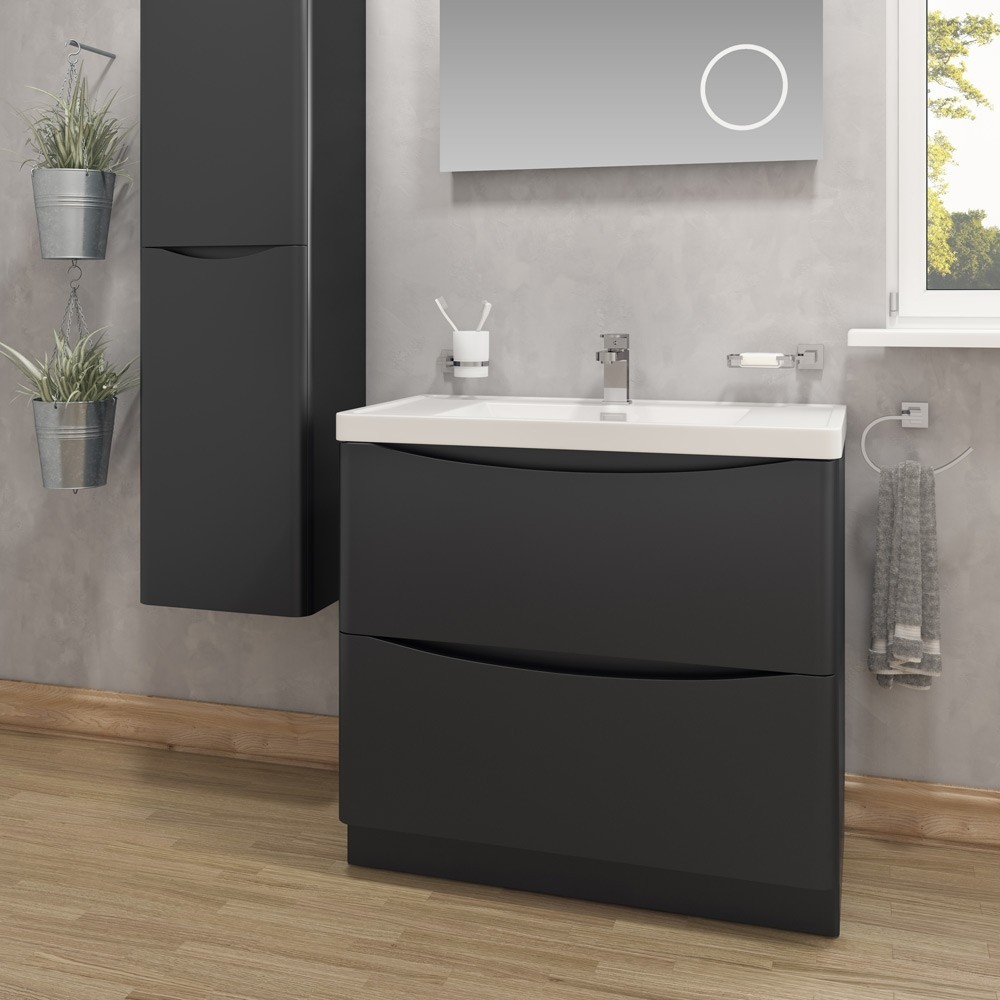 Bali Black 600mm Wall Mounted Cabinet with Soft Close ...