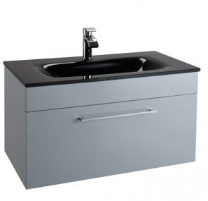 600MM Urban Cube Grey Wall Hung Drawer Unit And Basin