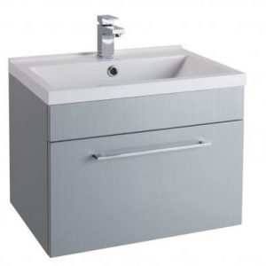 600MM Urban Cube Grey Wall Hung Drawer Unit And White Basin