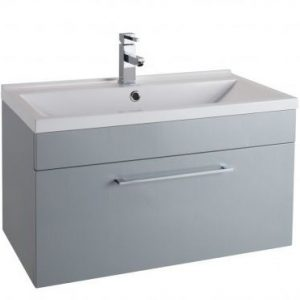 800MM Urban Cube Grey Wall Hung Drawer Unit And White Basin