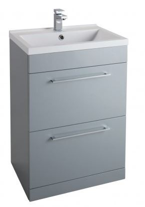 600MM Urban Cube Grey Freestanding Unit and White Basin