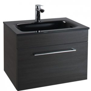 600MM Urban Cube Black Wall Hung Drawer Unit And Black Basin