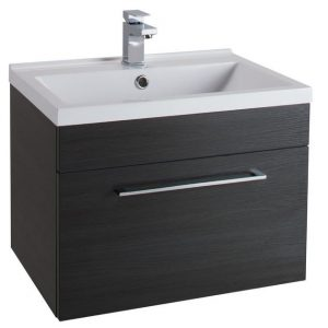 600MM Urban Cube Black Wall Hung Drawer Unit And White Basin