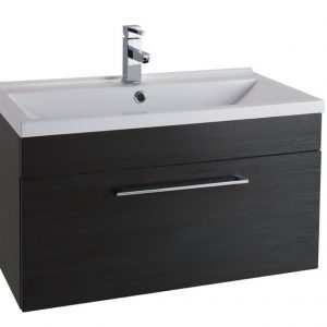 800MM Urban Cube Black Wall Hung Drawer Unit And White Basin