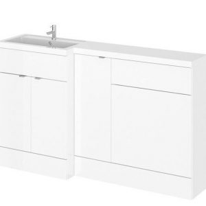 1500MM Gloss White Left/Right Hand L Shape Vanity and WC Unit.