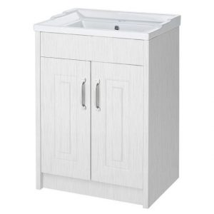 600 2 Door White Ash Floor Standing Vanity Unit
