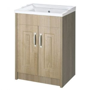 600 2 Door Oak Woodgrain Floor Standing Vanity Unit