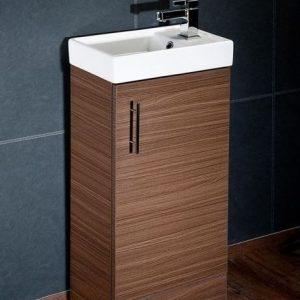 Walnut 400mm Vanity Unit with Basin & Waterfall Tap