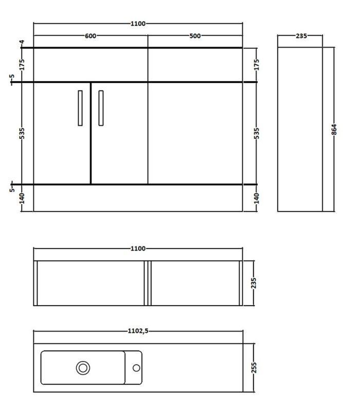1100x255mm Hudson Reed Driftwood Combination Furniture Vanity Unit