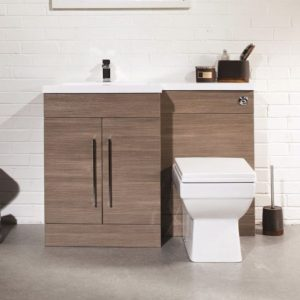 1100MM L Shape Oak Vanity And WC Unit With SquareToilet