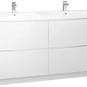 1400MM Bali White Gloss Free Standing 4 Drawer Vanity Unit Cabinet