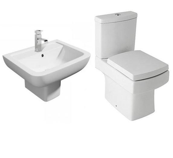 Options 600 Modern 4 Piece Toilet & Semi Pedestal Basin Set
