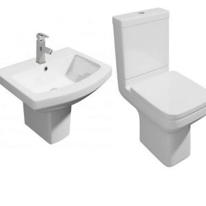Trim Modern 4 Piece Toilet & Semi Pedestal Basin Set