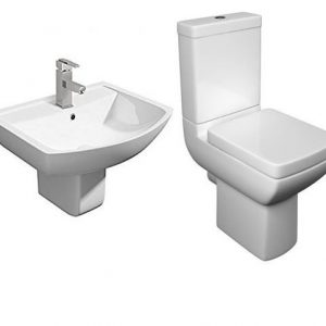 Pure Modern 4 Piece Toilet & Semi Pedestal Basin Set