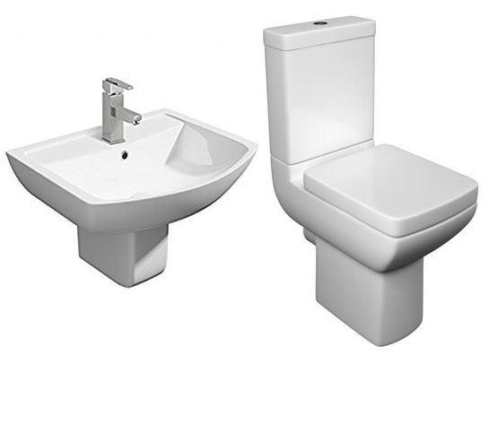 Pure Modern 4 Piece Toilet & Semi Pedestal Basin Set