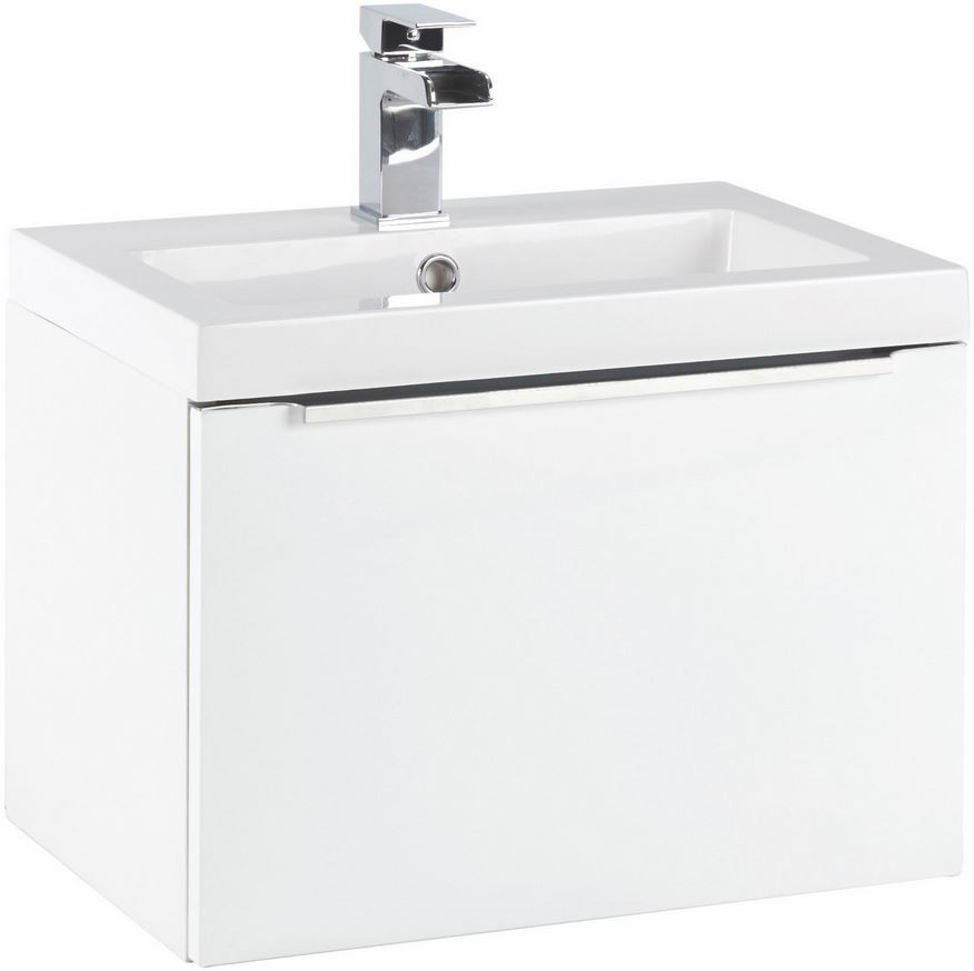600MM Muro Gloss White Wall Hung Basin And Cabinet