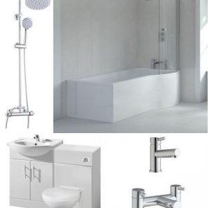 Right Hand L Shape Full Bathroom Suite