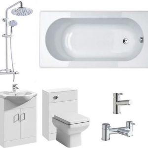 P Shape Full Bathroom Suite With Q60 Pan