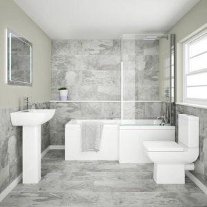 L Shape Shower Bathroom Suites Packages