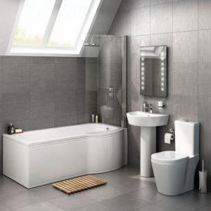 P Shape Shower Bathroom Suites Packages